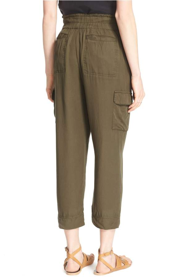 Free People High-Rise Cropped Cargo Pants Army 4