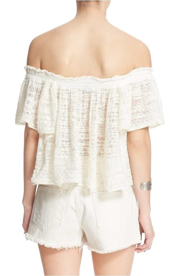 Free People Thrills and Frills Open-Stitch Ivory M