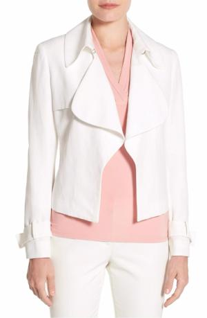 Anne Klein Long Double-Weave Single-Button Jacket White 8