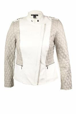 INC International Concepts Quilted Moto Jacket Washed White L