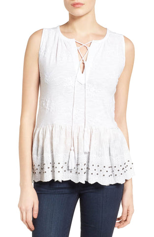 Lucky Brand Printed Pintuck Top Coral Multi S