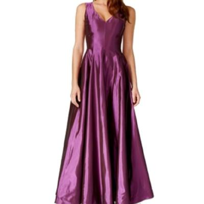 B Michael Sleeveless A-Line Gown Purple