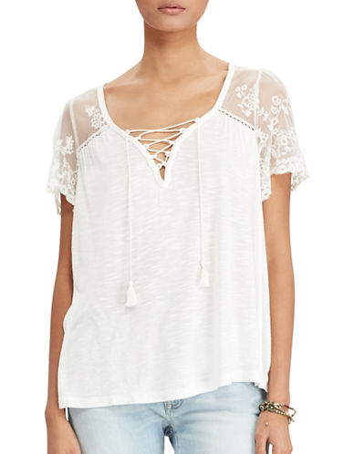 Denim & Supply Ralph Lauren Lace-Up Jersey Top White