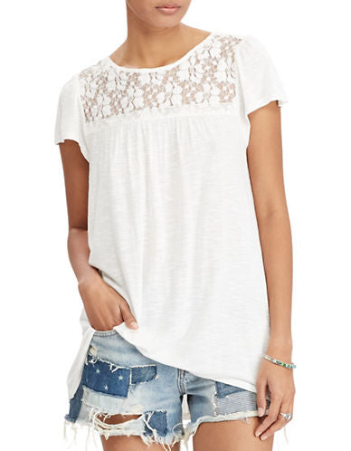 Denim & Supply Ralph Lauren Lace-Up Jersey Top Cream S - Gear Relapse