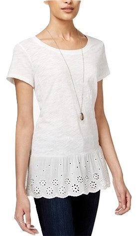 Maison Jules Cotton Eyelet Peplum Top Bright White XL