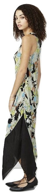 RACHEL Rachel Roy Colorblocked Midi Dress Green Olive L