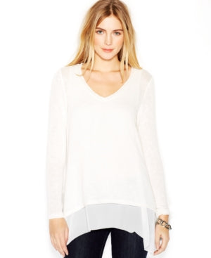 Bar Ill Long-Sleeve Knit-Overlay Layered Top Marshmallow S - Gear Relapse