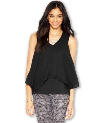 Bar III Sleeveless Tiered Top Deep Black M