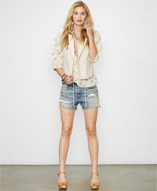 Denim & Supply Ralph Lauren Distressed Denim Boyfriend Shorts 25