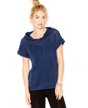 Lucky Lotus by Lucky Brand Mesh Hood Sweatshirt Navy S