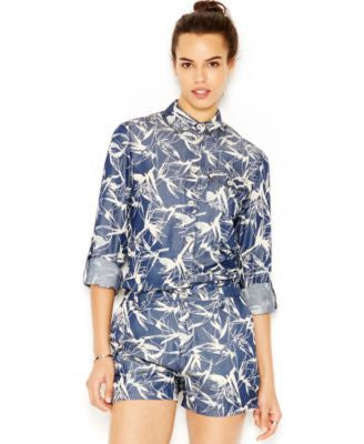 Rachel Rachel Roy Printed Button-Front Blouse Bird of Paradise Blue Multi XS