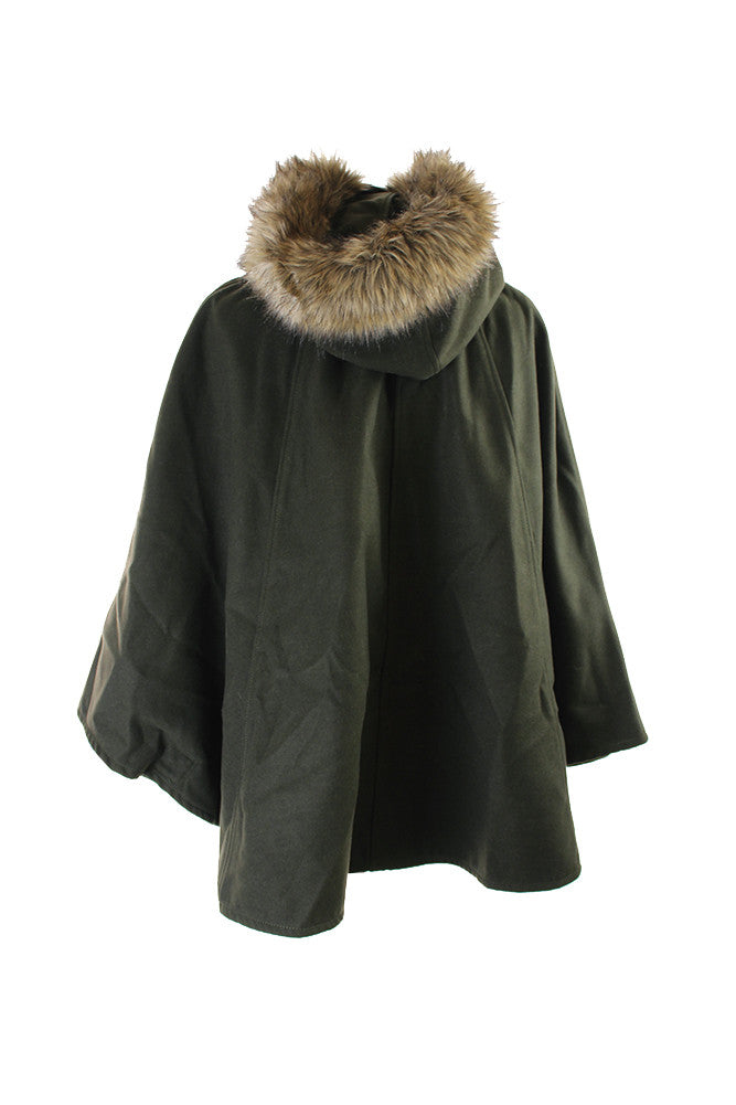 Wildflower Faux-Fur-Trim Hooded Poncho One Size