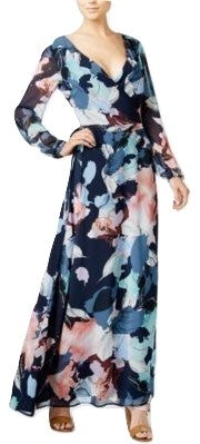 Bar III Printed Wrap Maxi Dress Navy Blazer Combo XXS