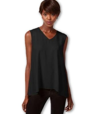 Bar III Sleeveless Handkerchief-Hem Top Black - Gear Relapse