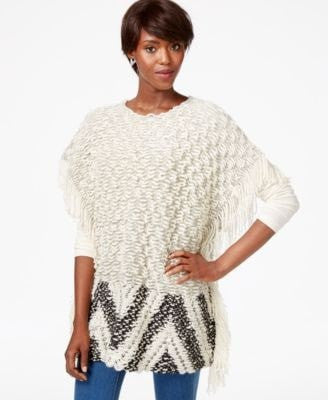 Bar Ill Fringed Poncho Sweater White Combo M/L - Gear Relapse
