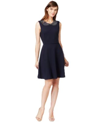 Maison Jules Embellished Fit Flare Dress Blu Notte M - Gear Relapse