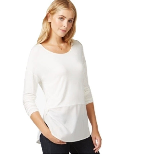 Maison Jules Long-Sleeve Contrast Top Egret M