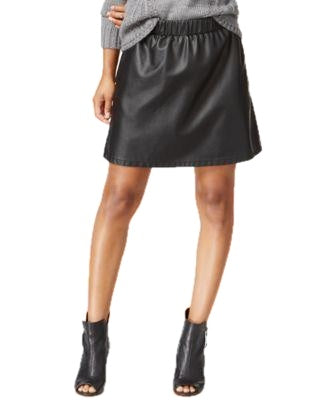Maison Jules Pleather Pull-On Skirt Deep Black XS