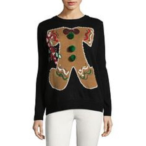 Faith & Zoe Women's Gingerbread Man Knit Christmas Thanksgiving Sweater Black X-Small