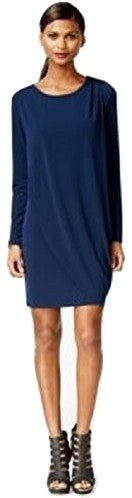 Bar III Long-Sleeve Draped Shift Dress Ink Spill Blue XXL - Gear Relapse