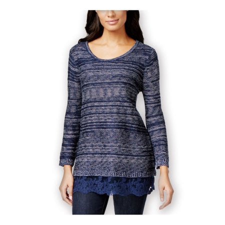 Style & Co. Women's Lace-Hem Marled Long Sleeve Sweater Industrial Blue L