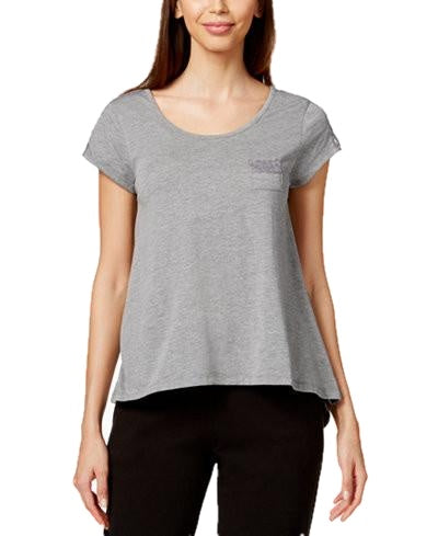 Hue Short-Sleeve Lace-Trim Pajama Top Grey Heather L