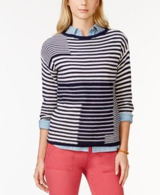 American Living Printed Three-Quarter-Sleeves Blue Combo L