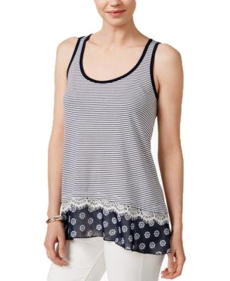 Maison Jules Mixed Media Tank Top Blu Notte Combo S