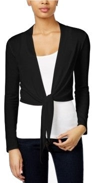 Bar III Tie-Front Long Sleeve Cropped Cardigan Deep Black L - Gear Relapse