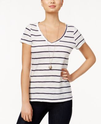 Maison Jules Short-Sleeve Striped T-Shirt Blu Notte Combo M
