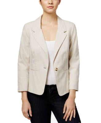 kensie One-Button Notched-Lapel Blaze Linen Combo XS