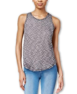 Bar III Melange-Knit Sleeveless Top Black Combo XXS