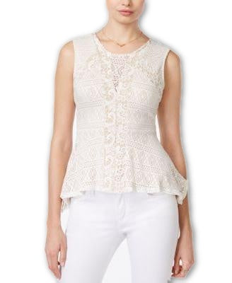 Bar III Crochet Peplum Top Vintage Cream - Gear Relapse