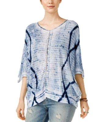 Lucky Brand Tie-Dyed Crochet-Detail Top Blue Multi M