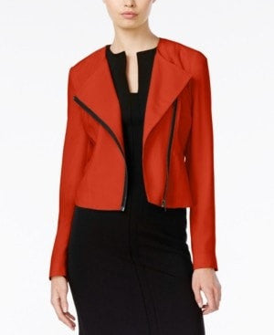 Bar III Asymmetrical Cropped Moto Jack Tomato Red M