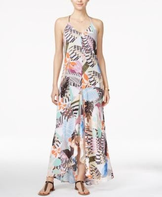Bar III Printed High-Low Hem Maxi Dres Washed White Combo XXS