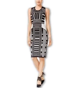 Bar III Intarsia-Knit Bodycon Dress Black Combo XS - Gear Relapse