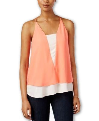 Bar III Printed Layered Top Peach - Gear Relapse