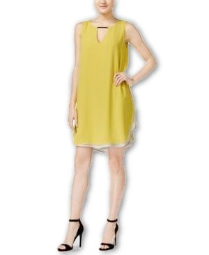 Bar III Sleeveless Cutout Sheath Dress Electric Citron L