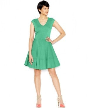 Bar III Cap-Sleeve Fit Flare Dress Coastline L