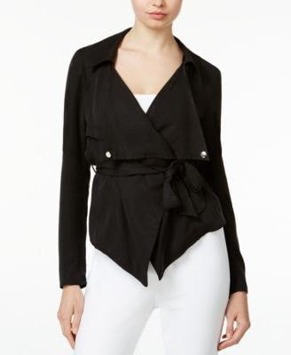 Bar III Asymmetrical Belted Moto Jacke Black XS