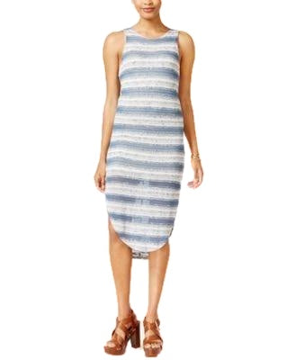 Bar III Striped Snit Dress Even Tide Combo M