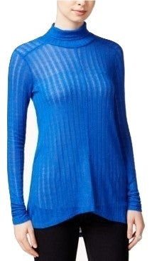 Lucky Brand Women's High-Low Turtleneck Long Sleeve Top Bright Blue M