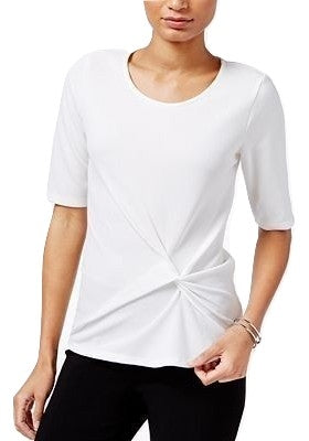 Bar III Cotton One-Shoulder Flounce To Washed White S