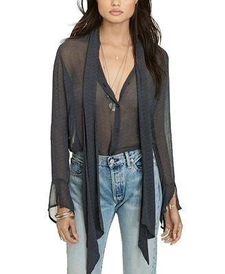 Denim & Supply Ralph Lauren Diamond-Print Tie-Neck Top Indigo XS - Gear Relapse