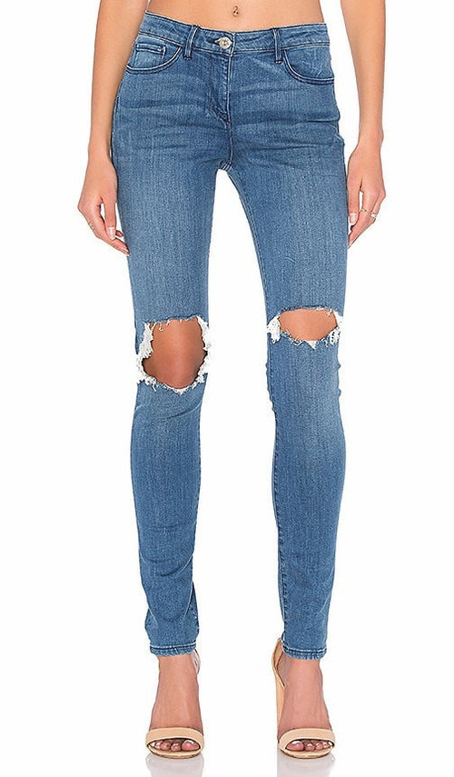 3X1 Distressed Skinny Jeans Light Wash 28