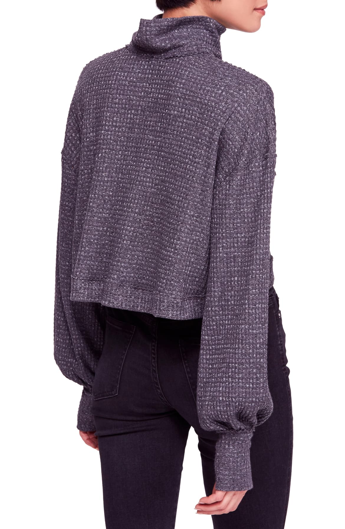 Free People Waffle-Knit Cropped Turtleneck Gray L - Gear Relapse