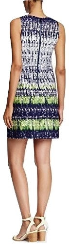 Vince Camuto Women's Print Scuba Fit & Flare Dress Blue Combo 6