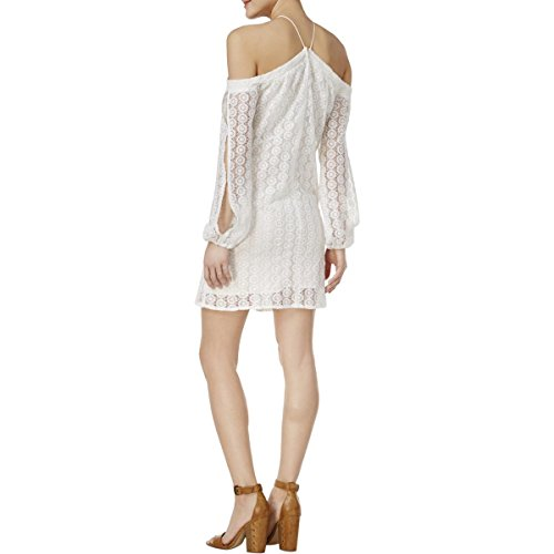 Bar III Off-The-Shoulder Lace Dress Bright White S