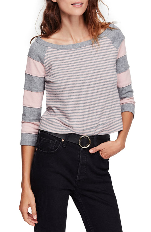 Free People Cotton First Mate Top Grey Combo M - Gear Relapse
